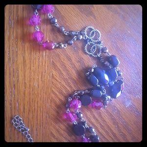 lia sophia black and purple bead long necklace